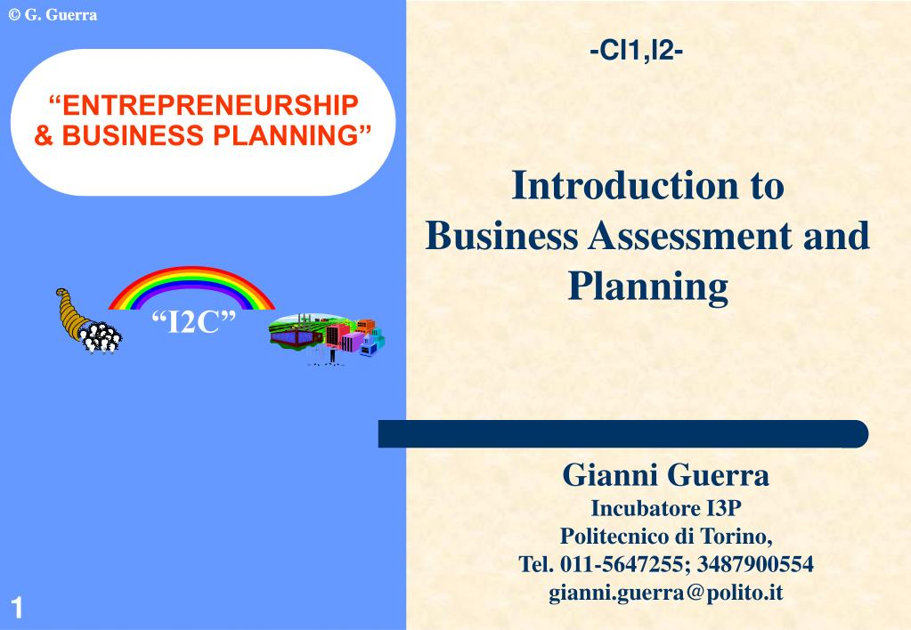 entrepreneurship business planning l.