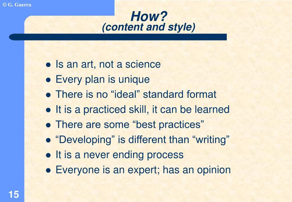 Is an art, not a science