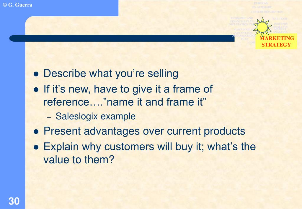 Describe what you're selling