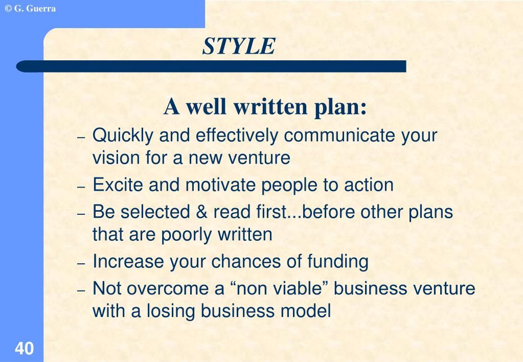 Quickly and effectively communicate your vision for a new venture