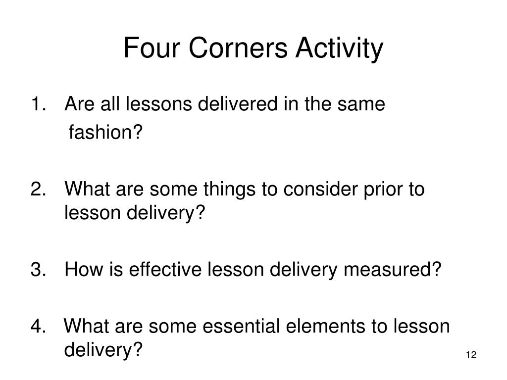 Four Corners Activity