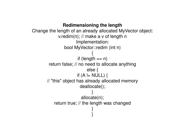 Redimensioning the length