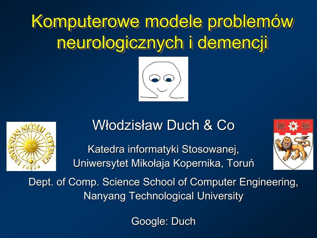 komputerowe modele problem w neurologicznych i demencji l.