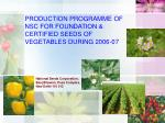production programme of nsc for foundation certified seeds of vegetables during 2006 07