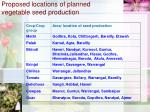 proposed locations of planned vegetable seed production