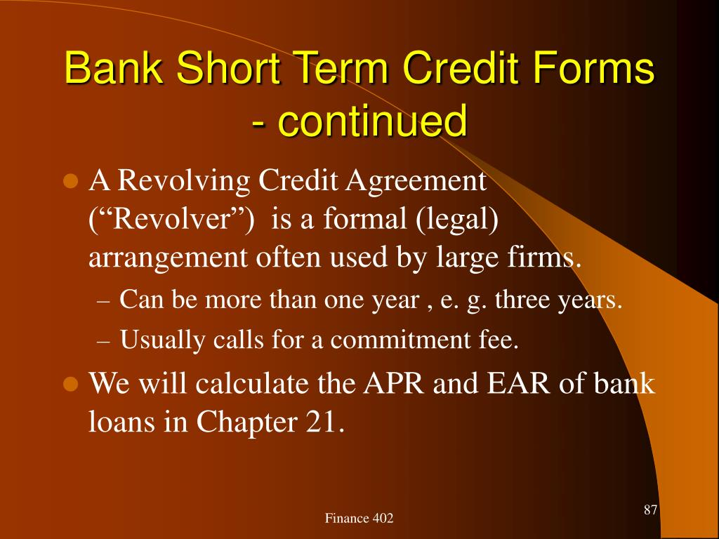 Bank Short Term Credit Forms - continued