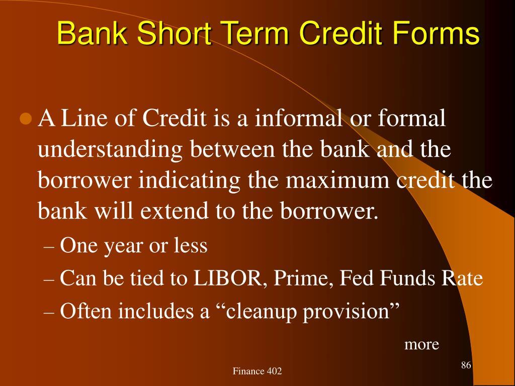 Bank Short Term Credit Forms