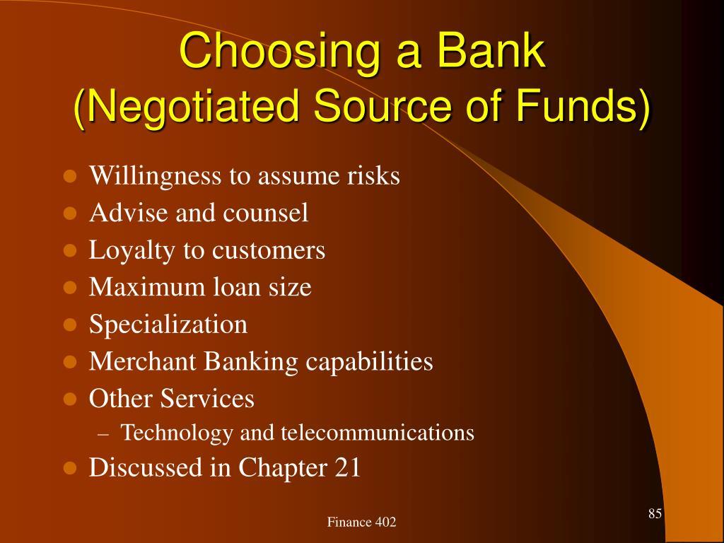 Choosing a Bank