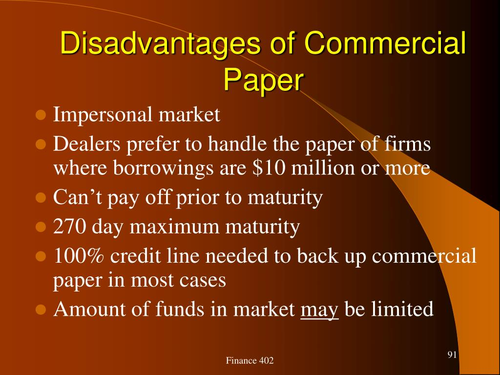 Disadvantages of Commercial Paper