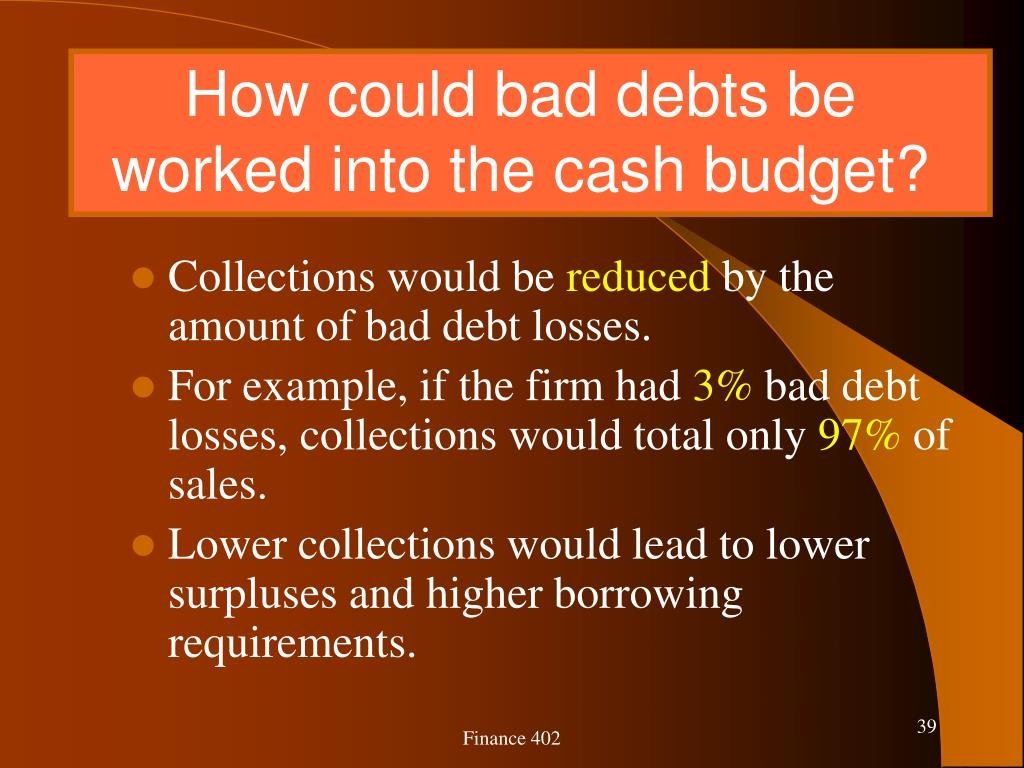 How could bad debts be worked into the cash budget?