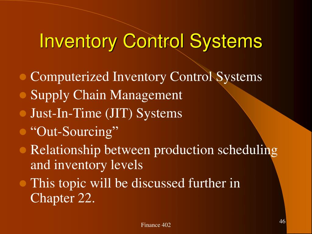 Inventory Control Systems