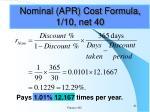 nominal apr cost formula 1 10 net 40