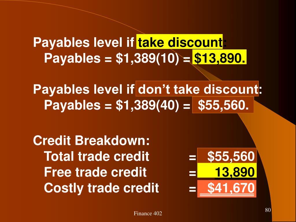 Payables level if