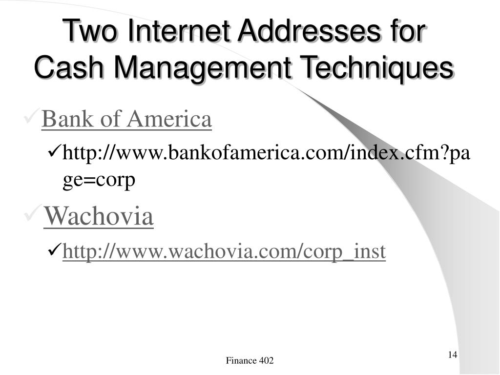 Two Internet Addresses for Cash Management Techniques