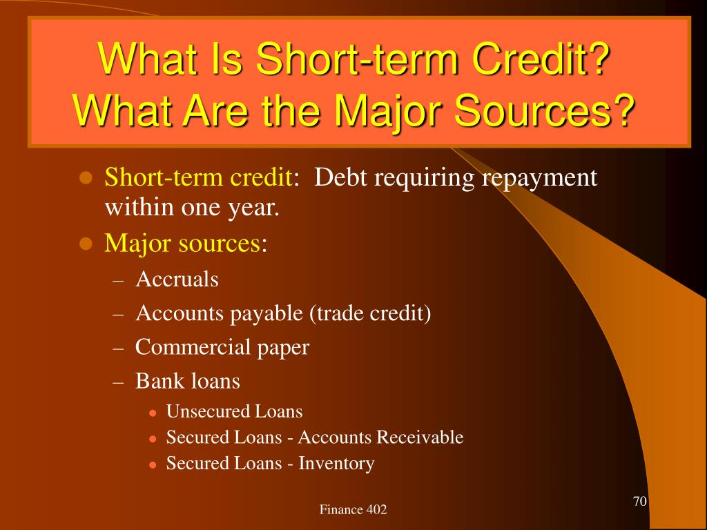 What Is Short-term Credit?