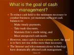 what is the goal of cash management