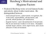 herzberg s motivational and hygiene factors