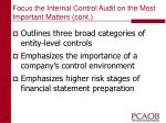 focus the internal control audit on the most important matters cont