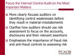 focus the internal control audit on the most important matters