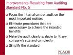 improvements resulting from auditing standard no 5