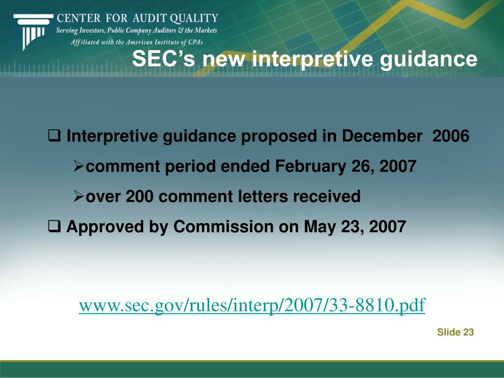 SEC's new interpretive guidance