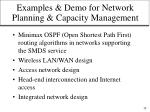 examples demo for network planning capacity management