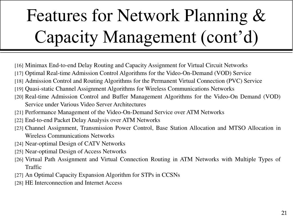 Features for Network Planning & Capacity Management (cont'd)