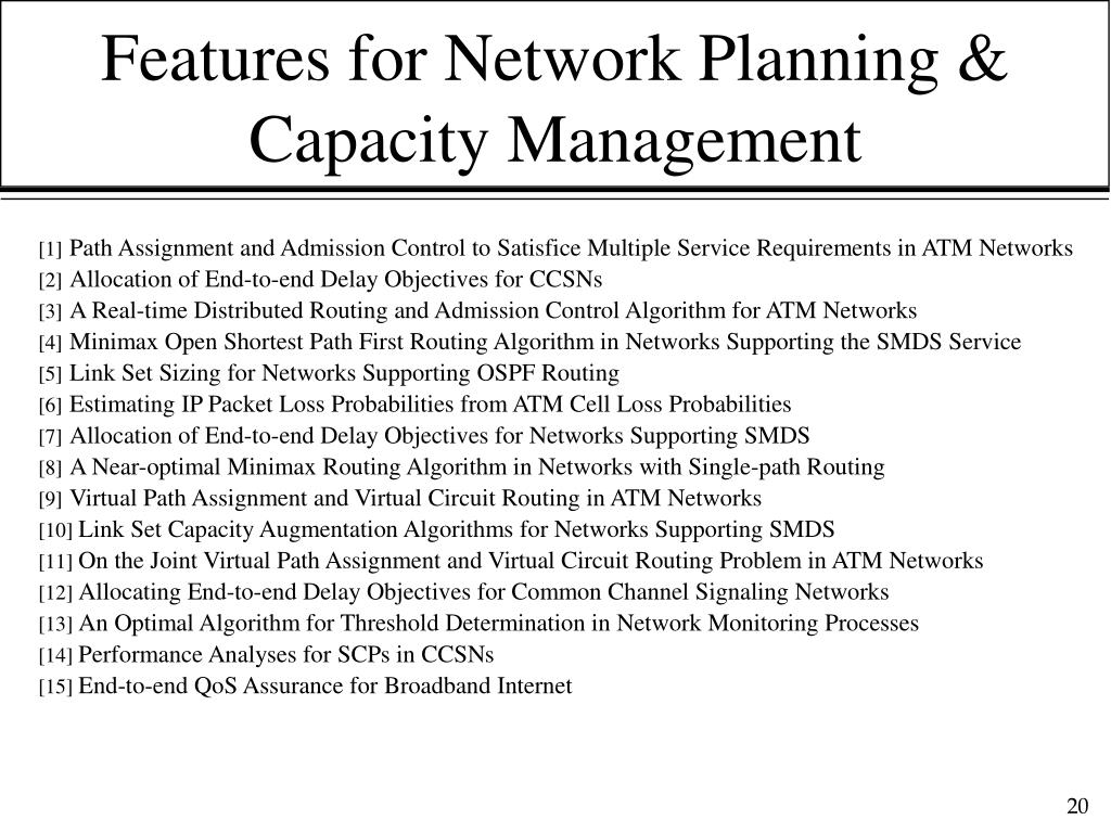 Features for Network Planning & Capacity Management
