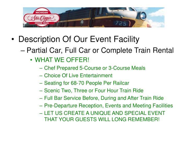 Description Of Our Event Facility