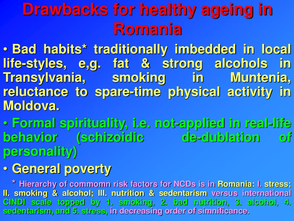 Drawbacks for healthy ageing in Romania