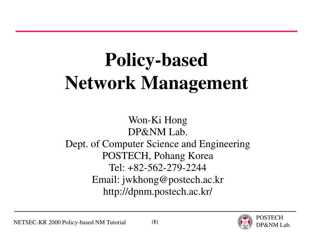 policy based network management l.