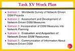task xv work plan
