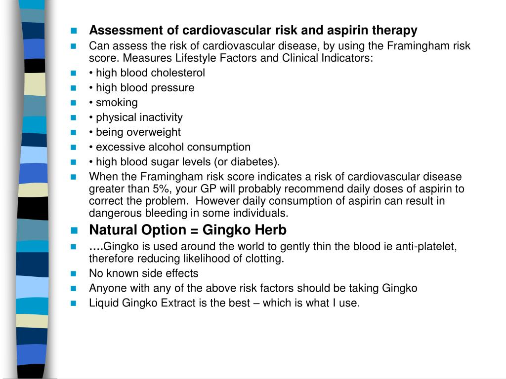 Assessment of cardiovascular risk and aspirin therapy