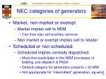 nec categories of generators