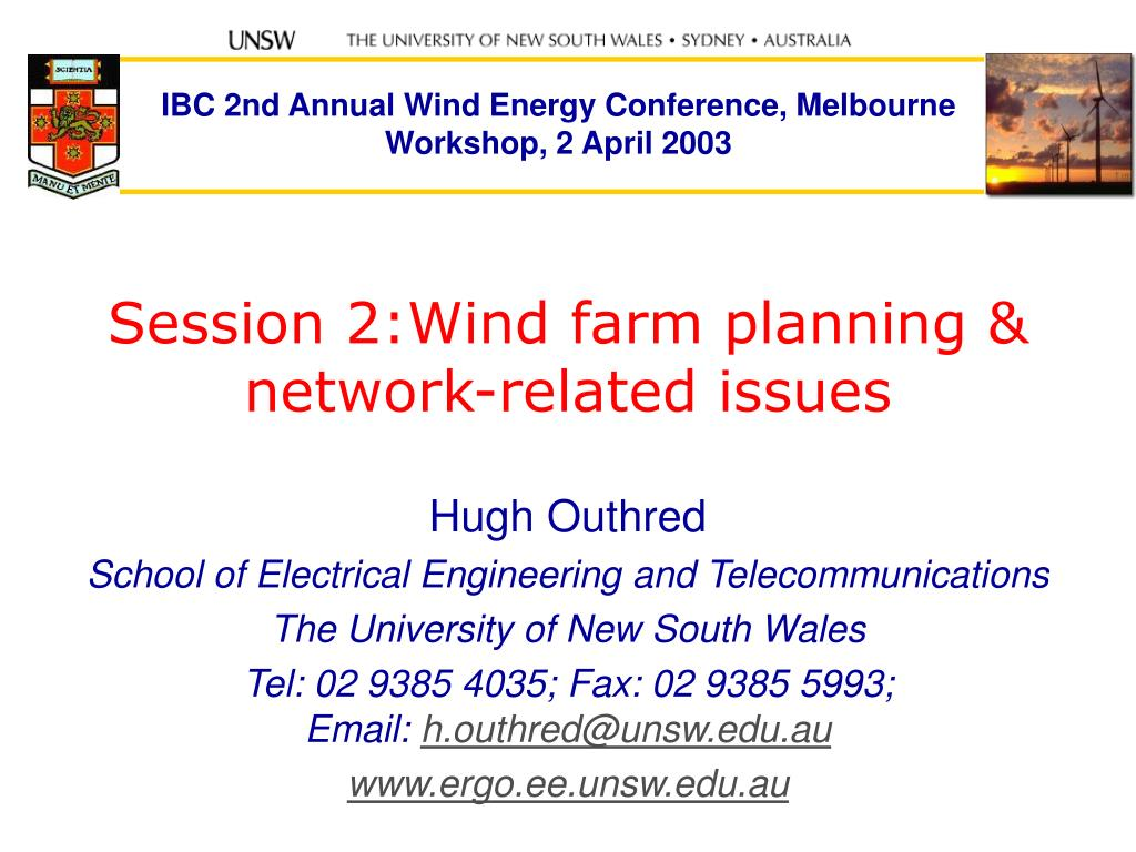 session 2 wind farm planning network related issues l.