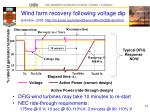 wind farm recovery following voltage dip