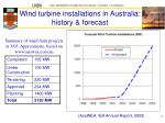 wind turbine installations in australia history forecast