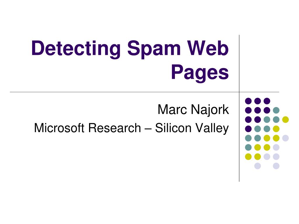 detecting spam web pages l.