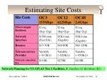 estimating site costs