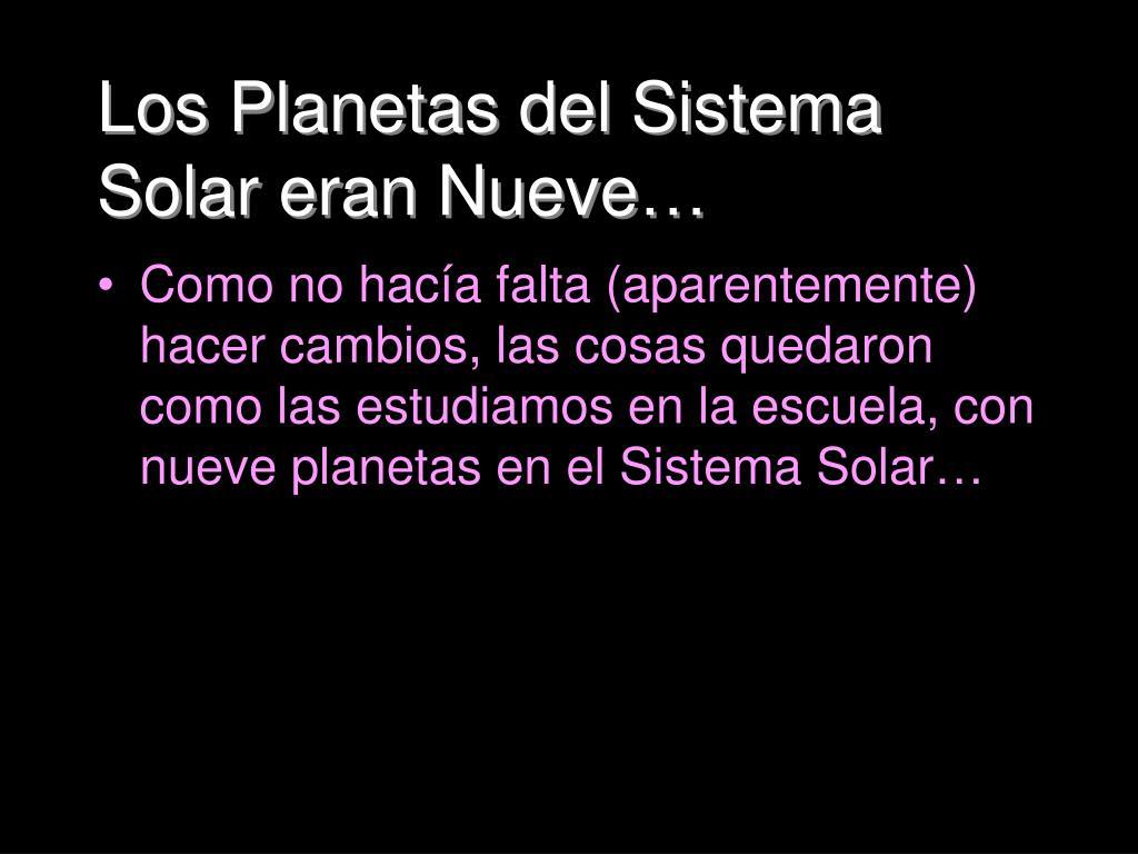 Los Planetas del Sistema Solar eran Nueve…