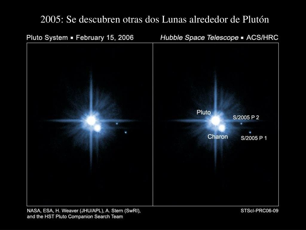 2005: Se descubren otras dos Lunas alrededor de Plutón