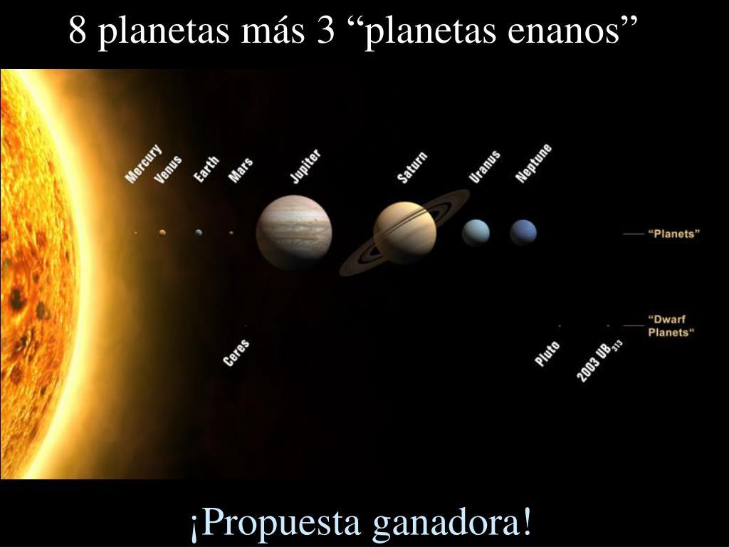 """8 planetas más 3 """"planetas enanos"""""""