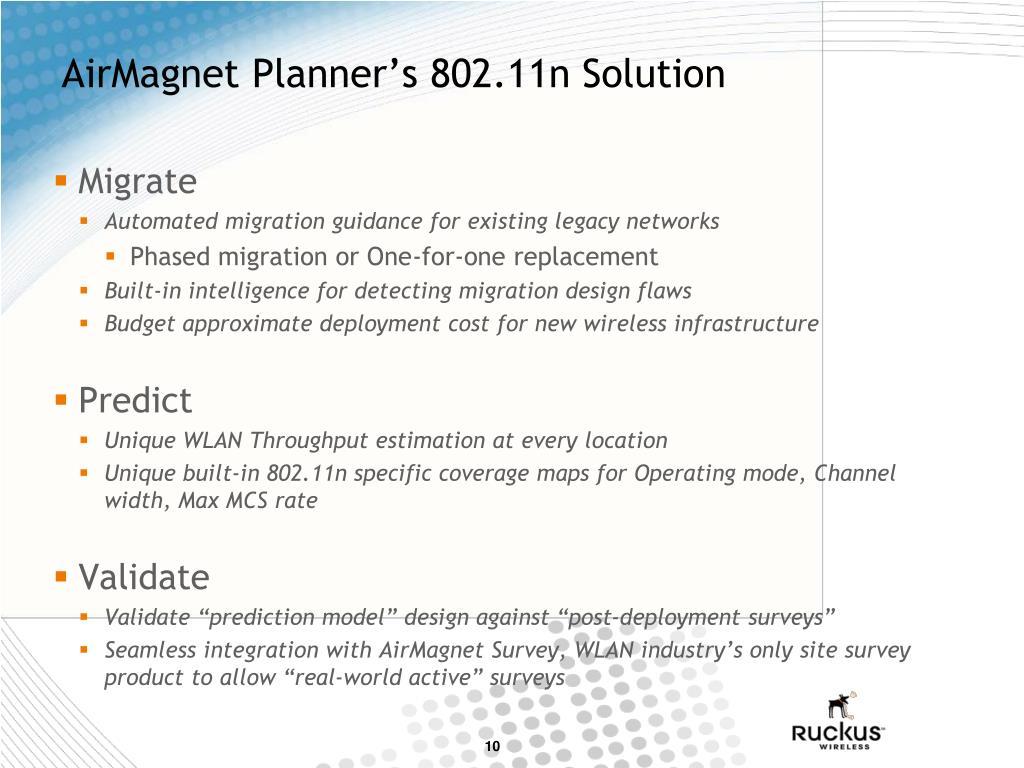 AirMagnet Planner's 802.11n Solution