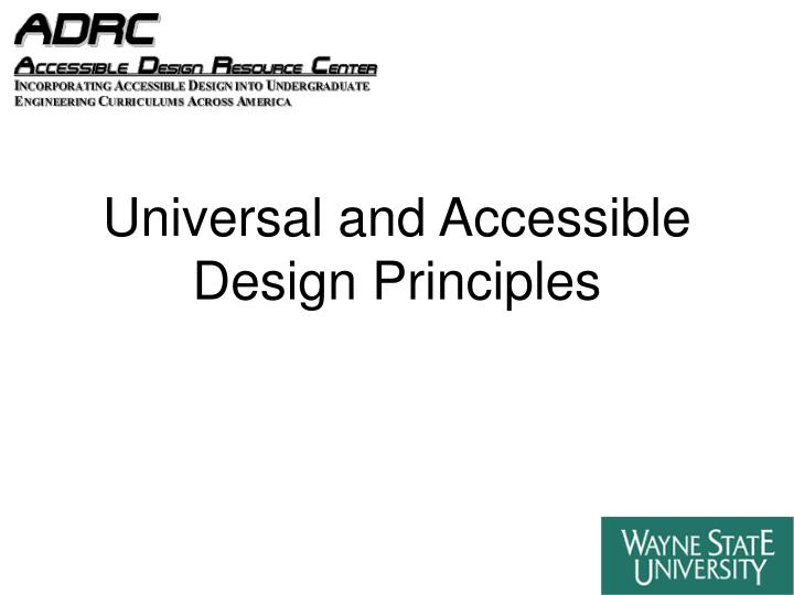 universal and accessible design principles n.