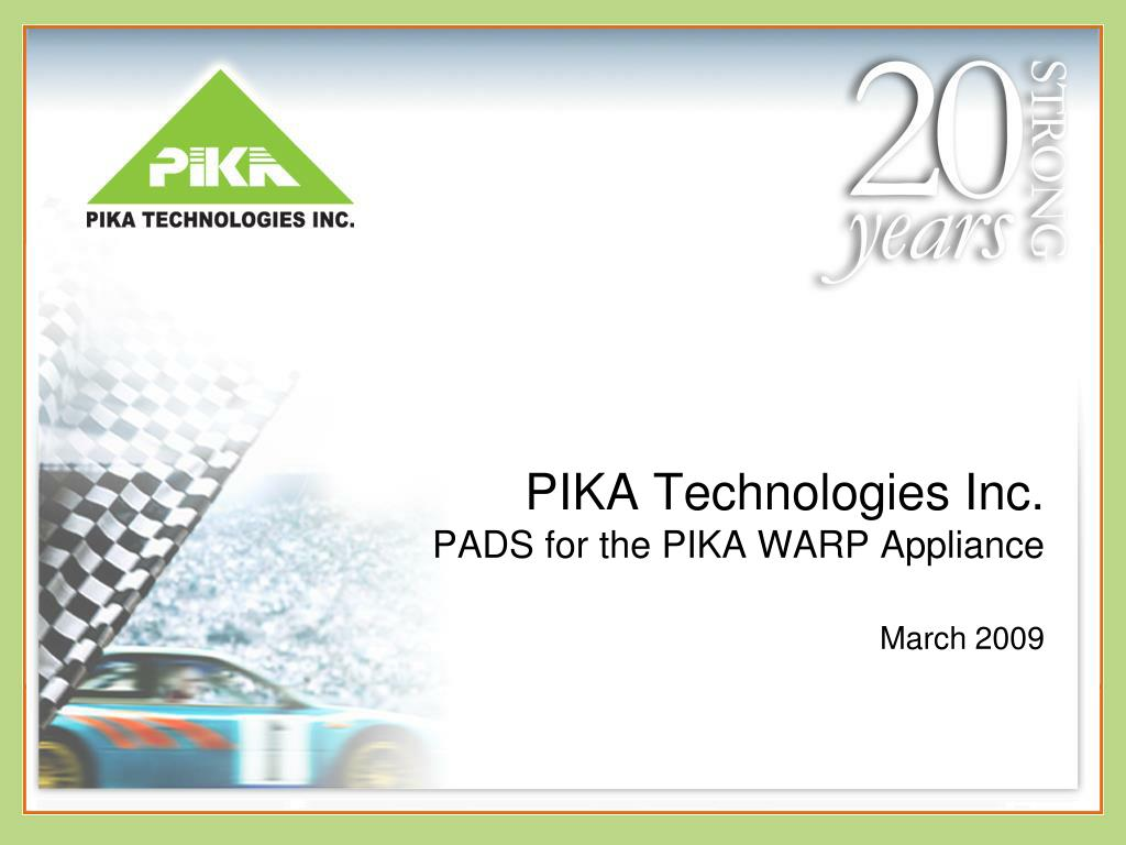 pika technologies inc pads for the pika warp appliance march 2009 l.
