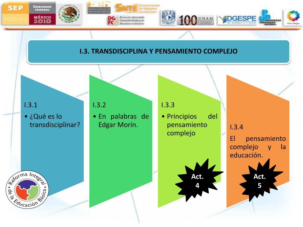 I.3. TRANSDISCIPLINA Y PENSAMIENTO COMPLEJO