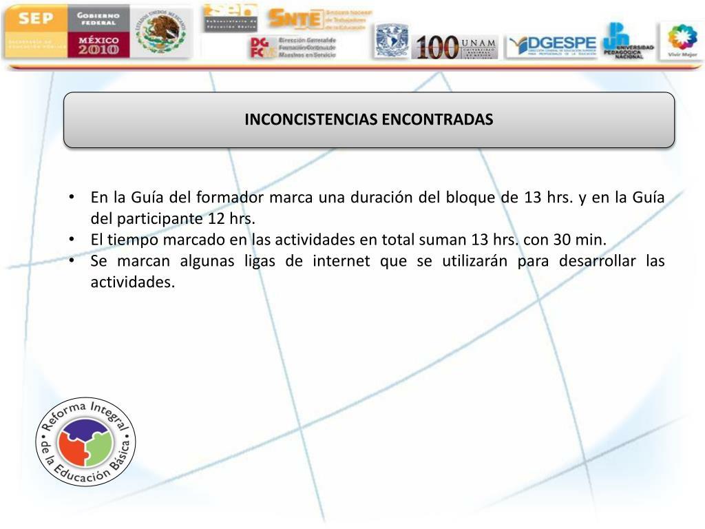 INCONCISTENCIAS ENCONTRADAS