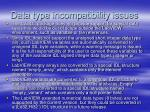 data type incompatibility issues
