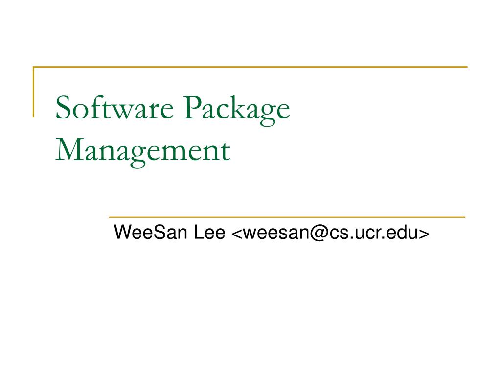 software package management l.