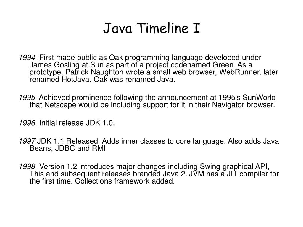 Java Timeline I